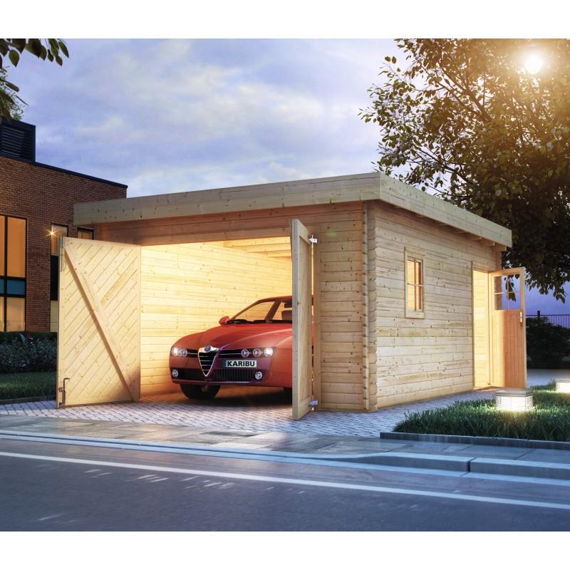 Garage En Bois Massif 20,78M² Toit Plat – Madriers 40Mm serapportantà Abri De Jardin Toit Plat 20M2