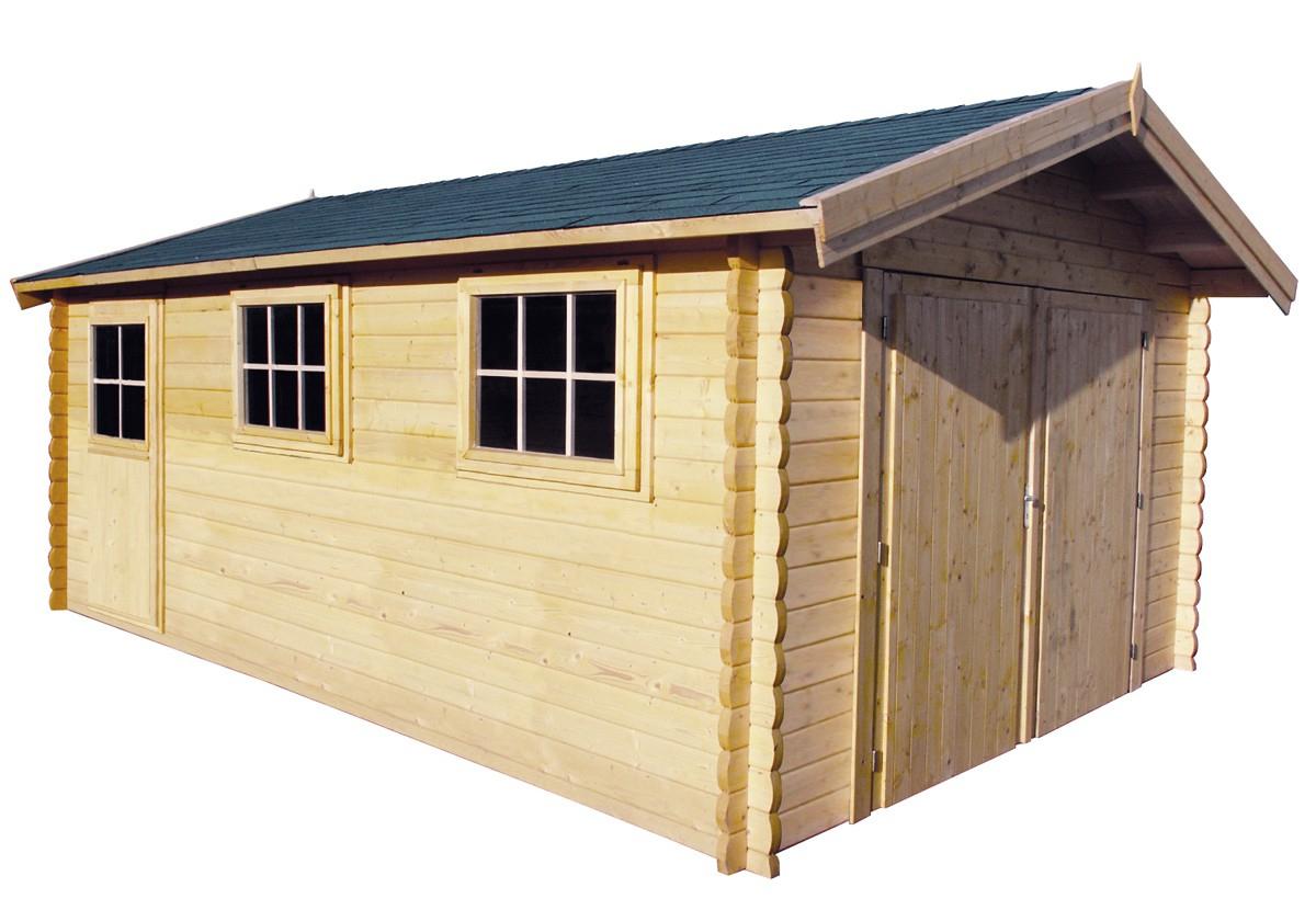 Garage En Madriers Bois 44 Mm, Abri De Jardin En Kit à Abri De Jardin Carrefour