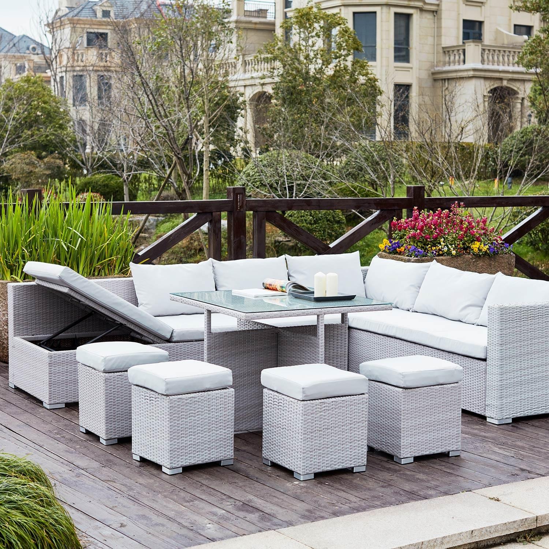 Gwandi Gris/Blanc : Salon De Jardin Encastrable En Résine concernant Adov Salon De Jardin