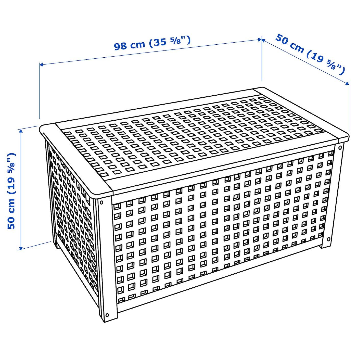 Hol Table De Rangement - Acacia 98X50 Cm Avec Coffre De encequiconcerne Coffre De Jardin Ikea