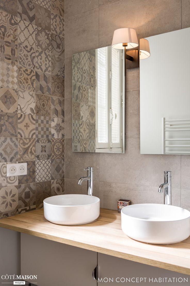 Idée Décoration Salle De Bain - Double Vasque Et Carreaux destiné Idees Salle De Bains