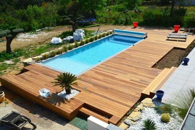Idee Terrasse Bois Piscine - Veranda-Styledevie.fr tout Piscine Sur Terrasse En Hauteur