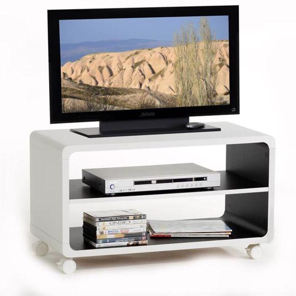 Idimex - Meuble Tv Étagère Panneau De Bois Blanc Noir pour Meuble Tv Sono