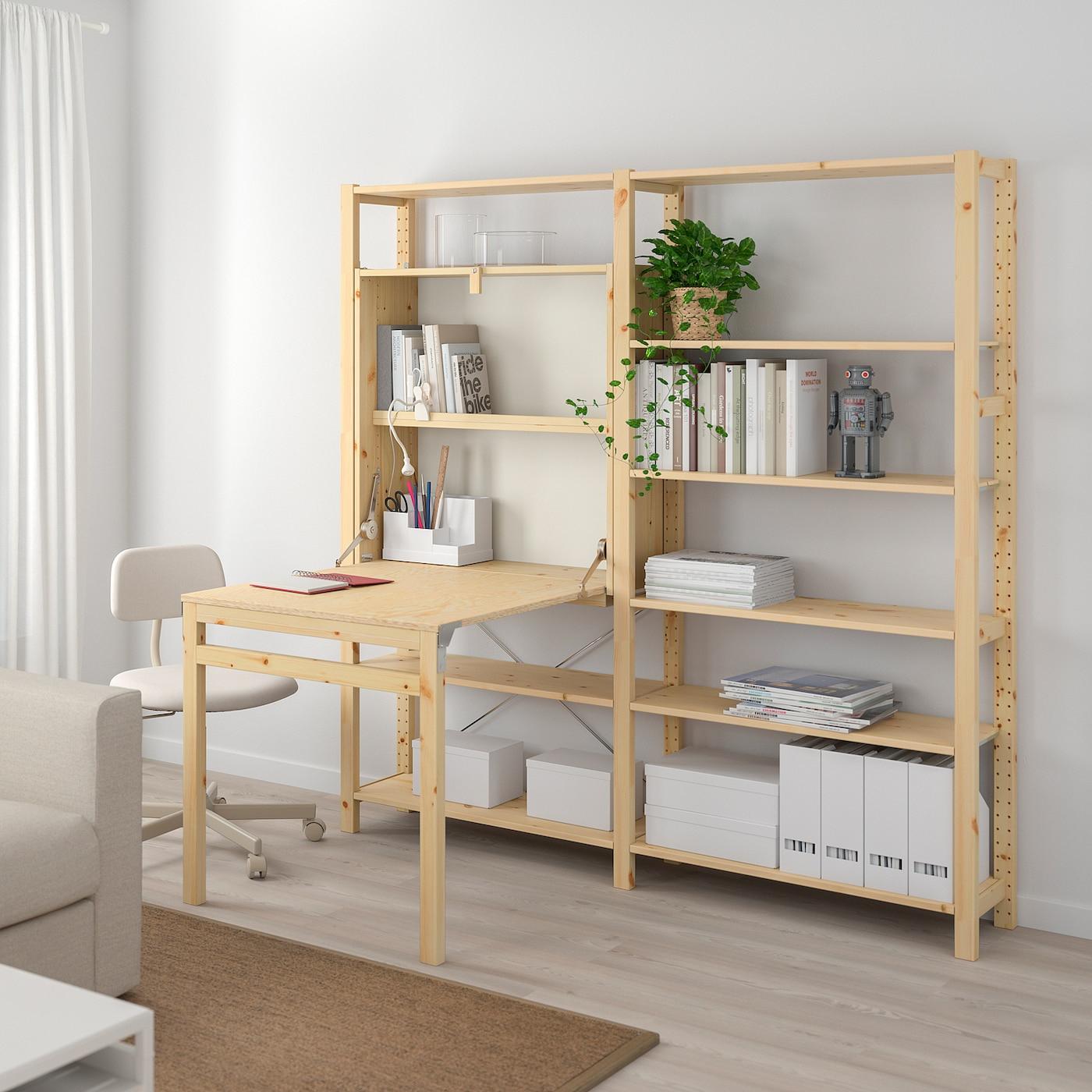 Ivar 2 Sections/rgt Av Table Pliante - Pin 175X30-104X179 Cm serapportantà Table Salle A Manger Pliante Ikea
