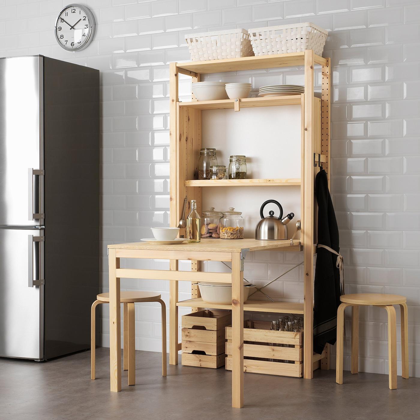 Ivar Rangement Avec Table Pliante - Pin 80X30-104X155 Cm concernant Table Salle A Manger Pliante Ikea