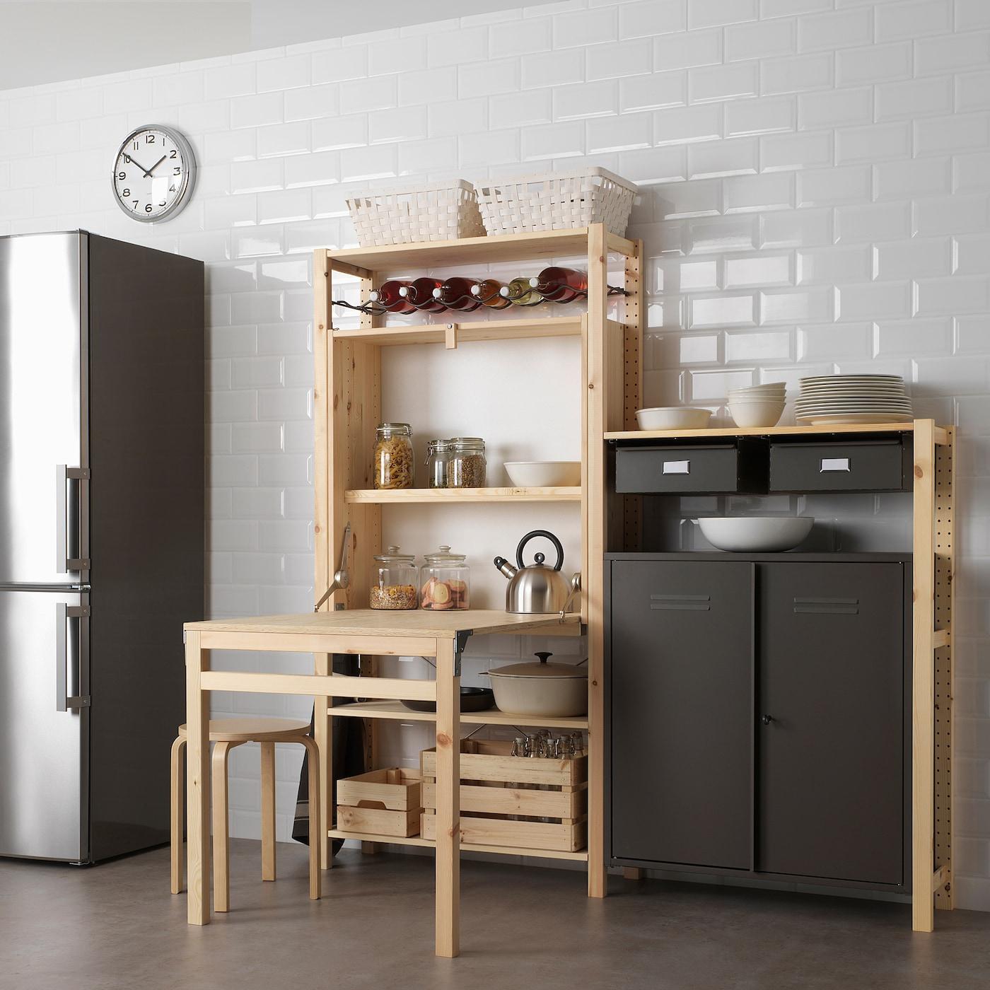 Ivar Rangement Avec Table Pliante - Pin 80X30-104X155 Cm encequiconcerne Table Salle A Manger Pliante Ikea