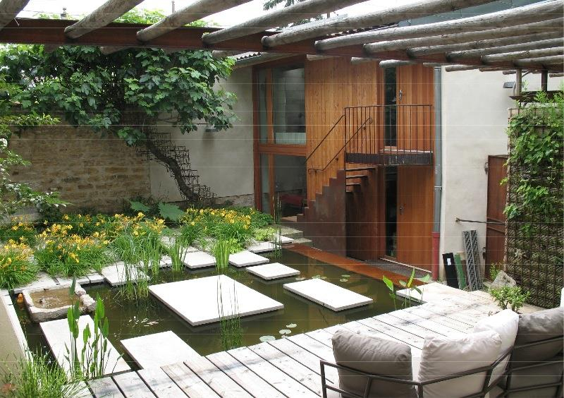 Jardin Moderne Paysagé Mélangeant Les Éléments Végétaux intérieur Jardin Moderne
