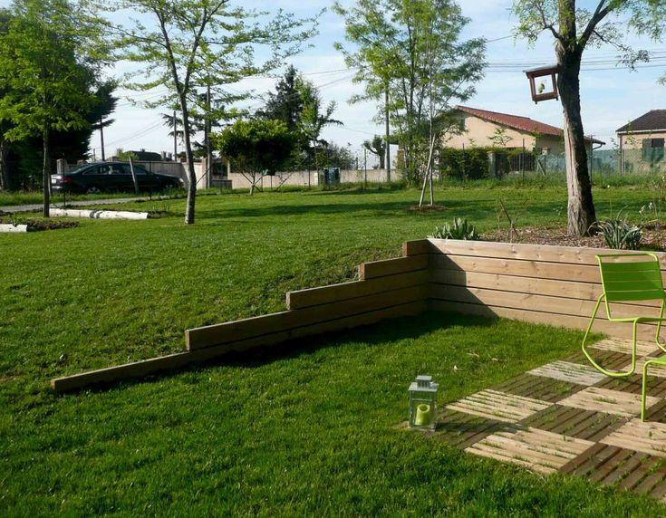 Jeux De Niveaux, Rétention De Terres, Terrasse, Jardin pour Pente Toiture Terrasse