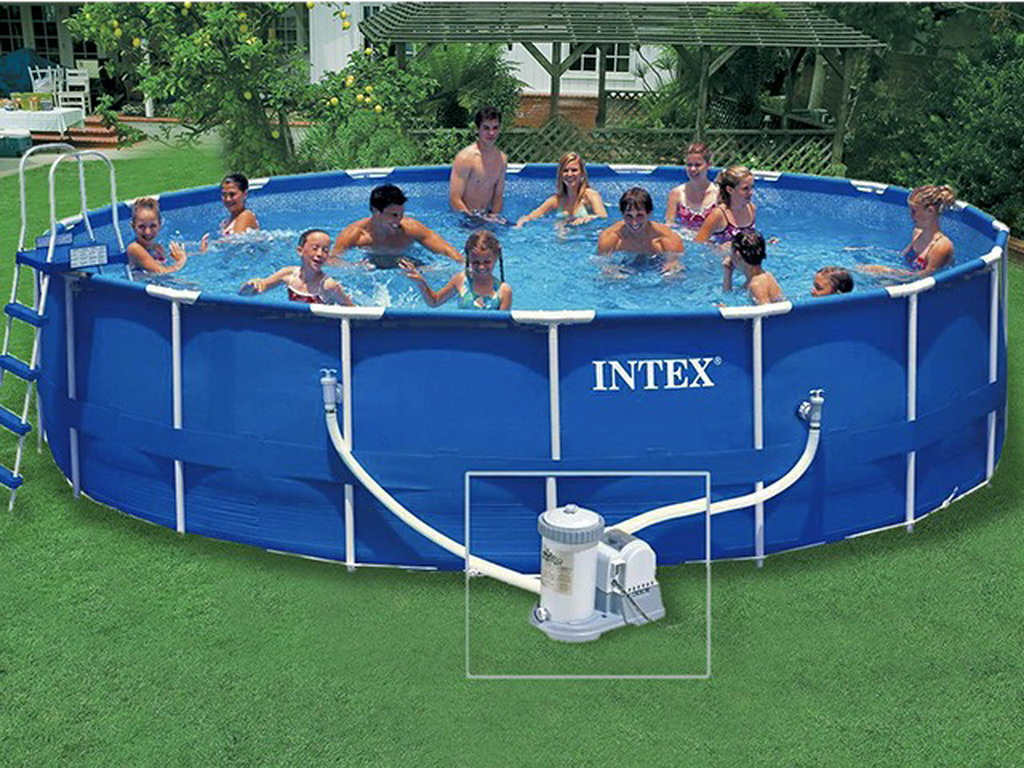 Kit Piscine Hors-Sol Intex Metal Frame Ronde 5.49M X 1.22M avec Kit Habillage Piscine Intex