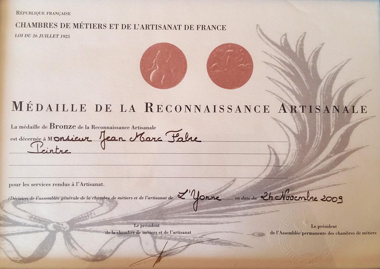 Les Distinctions Reçues Par Jmf Peinture Auxerre - Jean-Marc destiné Chambre Des Metiers Auxerre