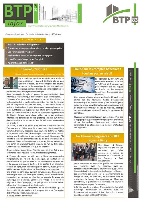 Lettre D'Information : Fbtp Var à Chambre Des Metiers Draguignan