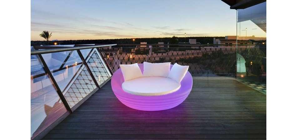 Lit De Jardin Rond Design Lumineux Recharge Solaire concernant Salon De Jardin Lumineux