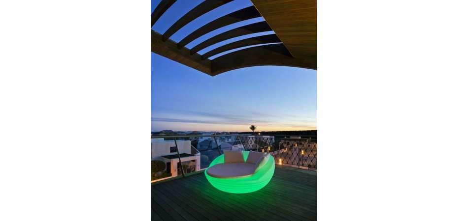 Lit De Jardin Rond Design Lumineux Recharge Solaire pour Salon De Jardin Lumineux