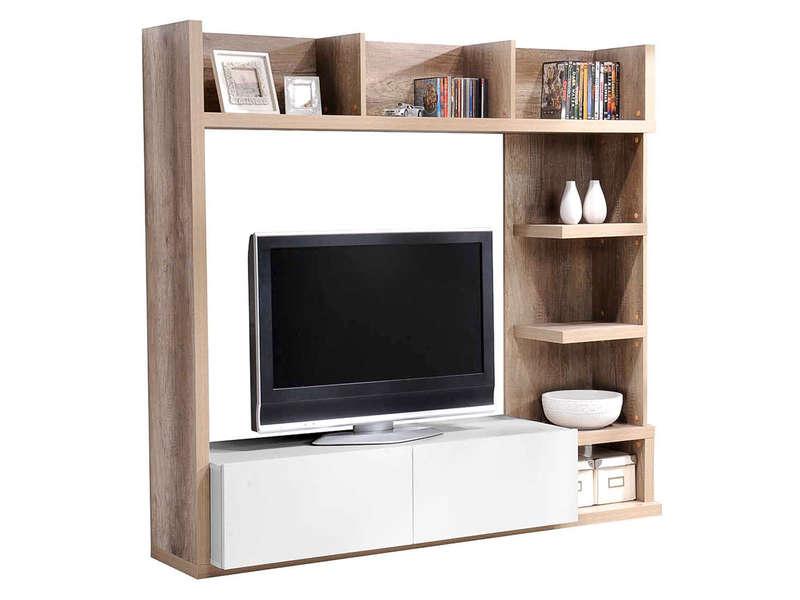 Living Tv 159 Cm Finition Brillant Leader Coloris Chêne Et dedans Meuble Tv Conforama