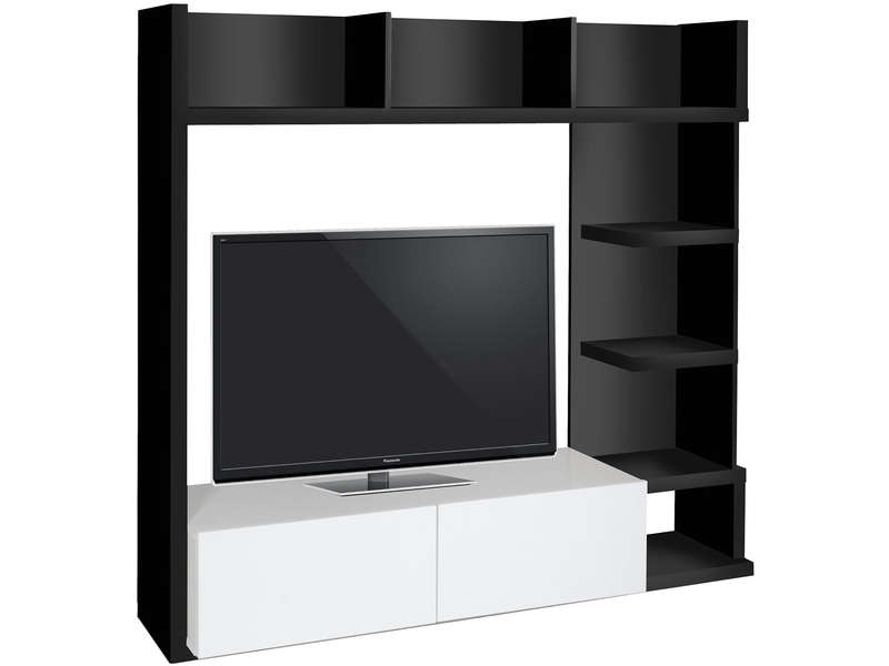 Living Tv 159 Cm Finition Brillant Leader Coloris Noir tout Meuble Tele Conforama