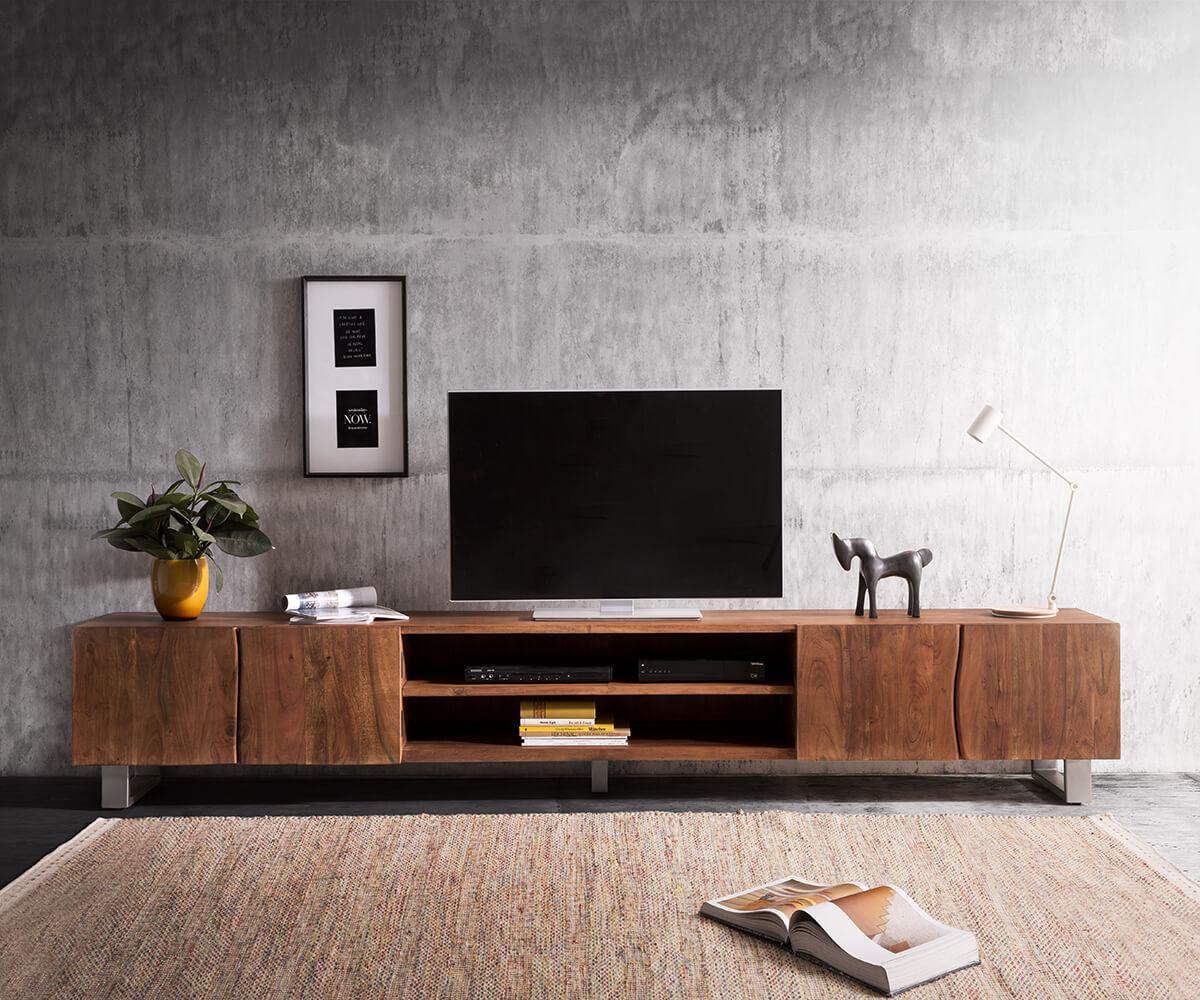 Lowboard Live-Edge 300 Cm Akazie Braun 4 Türen 2 Fächer encequiconcerne Mobel Braun