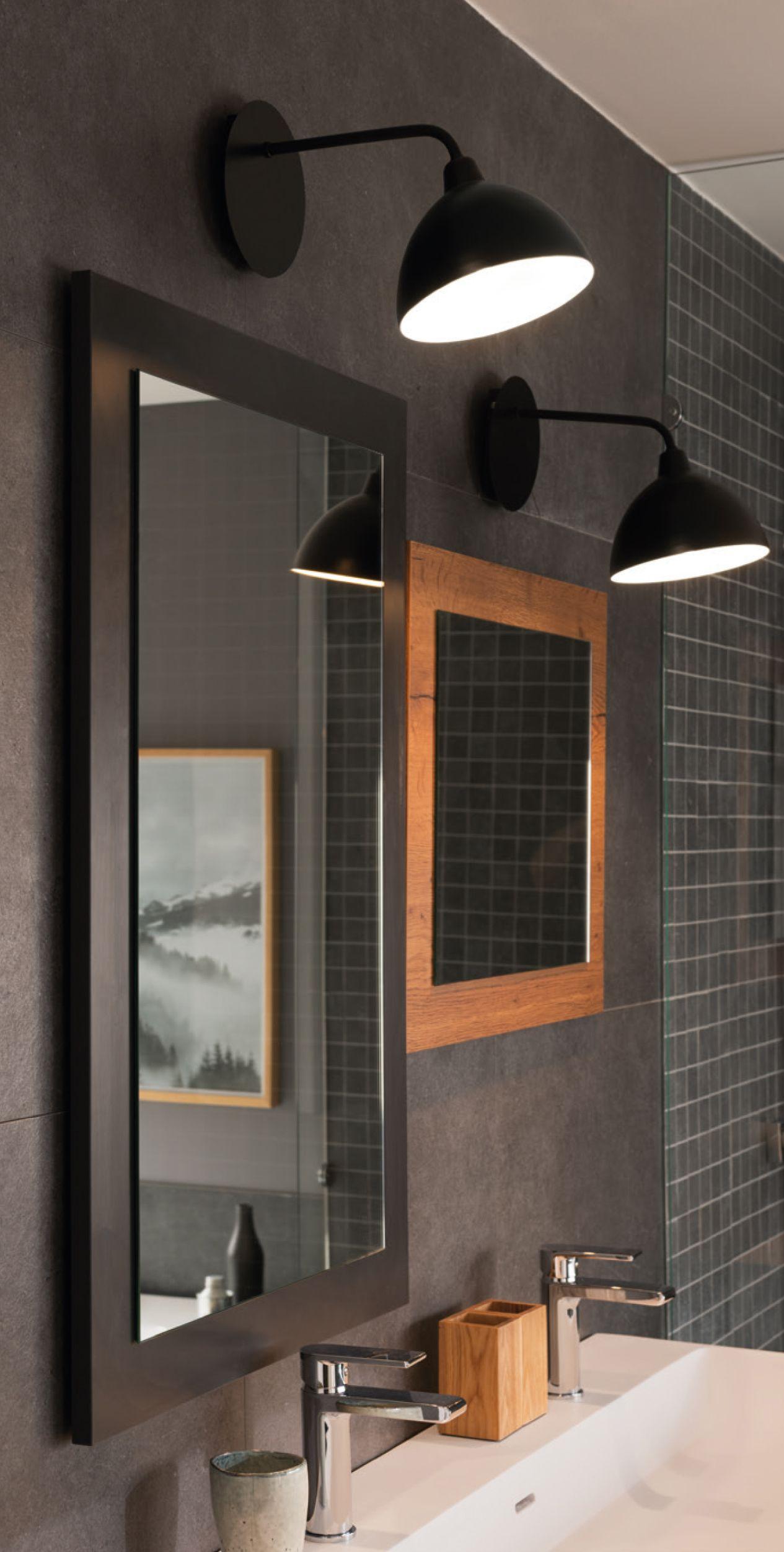 Luminaire De Salle De Bains Style Vintage Noir Mat. #miroir avec Mirroir Salle De Bain