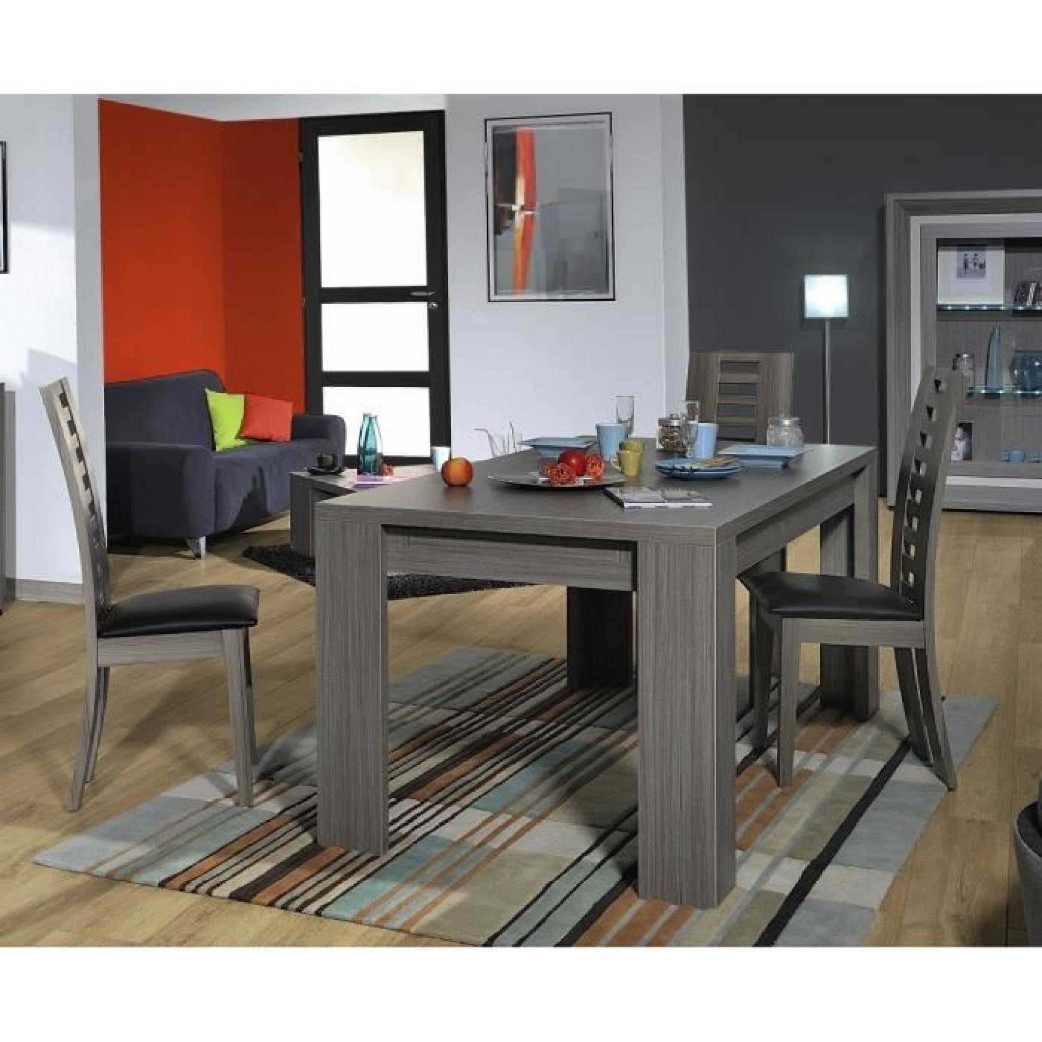 Lynea Table Rect. Bois Gris Et Laque L180/260 Cm dedans Table Salle À Manger Design Pas Cher