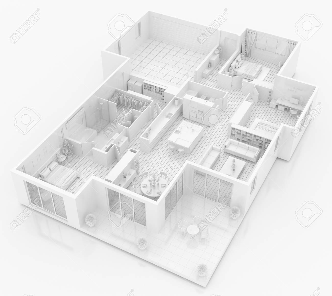 Maquette D'appartement Meublé, Modèle Papier encequiconcerne Meuble A Papier