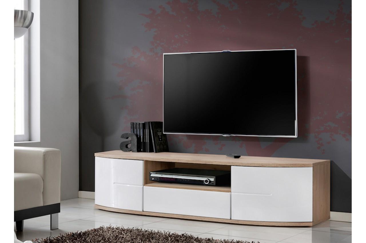 Meuble Bas Tv Blanc Laqué Et Bois 1M50 Pour Salon avec Meuble Tv Blanc Laqué But