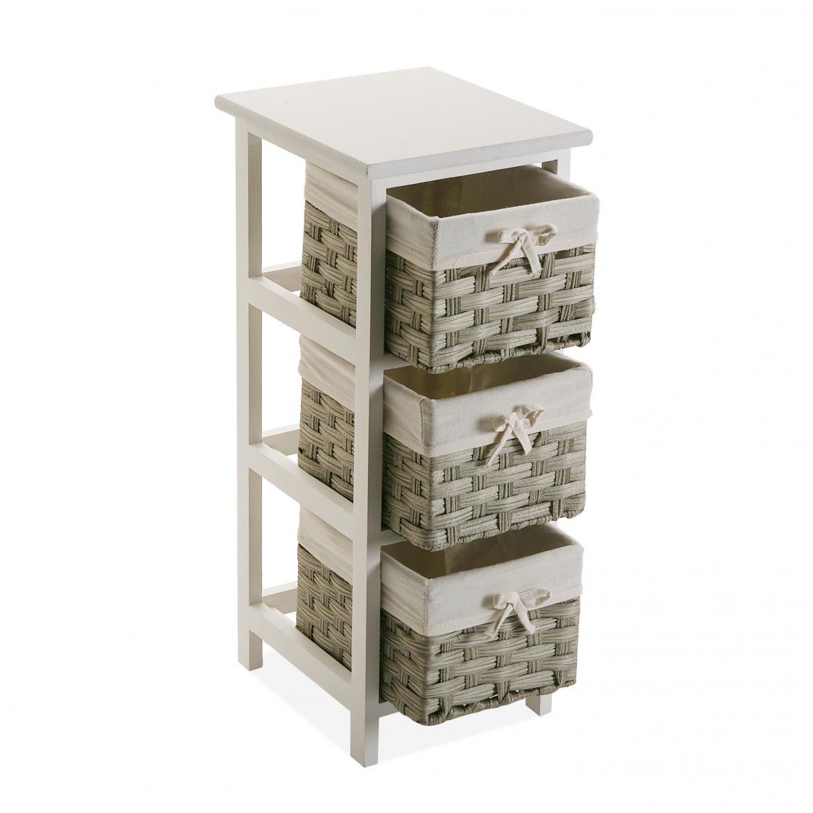 Meuble De Rangement Blanc Avec 3 Paniers Imprimés Beige Balta Plus De  Détails dedans 3 Suisses Meuble Salle De Bain