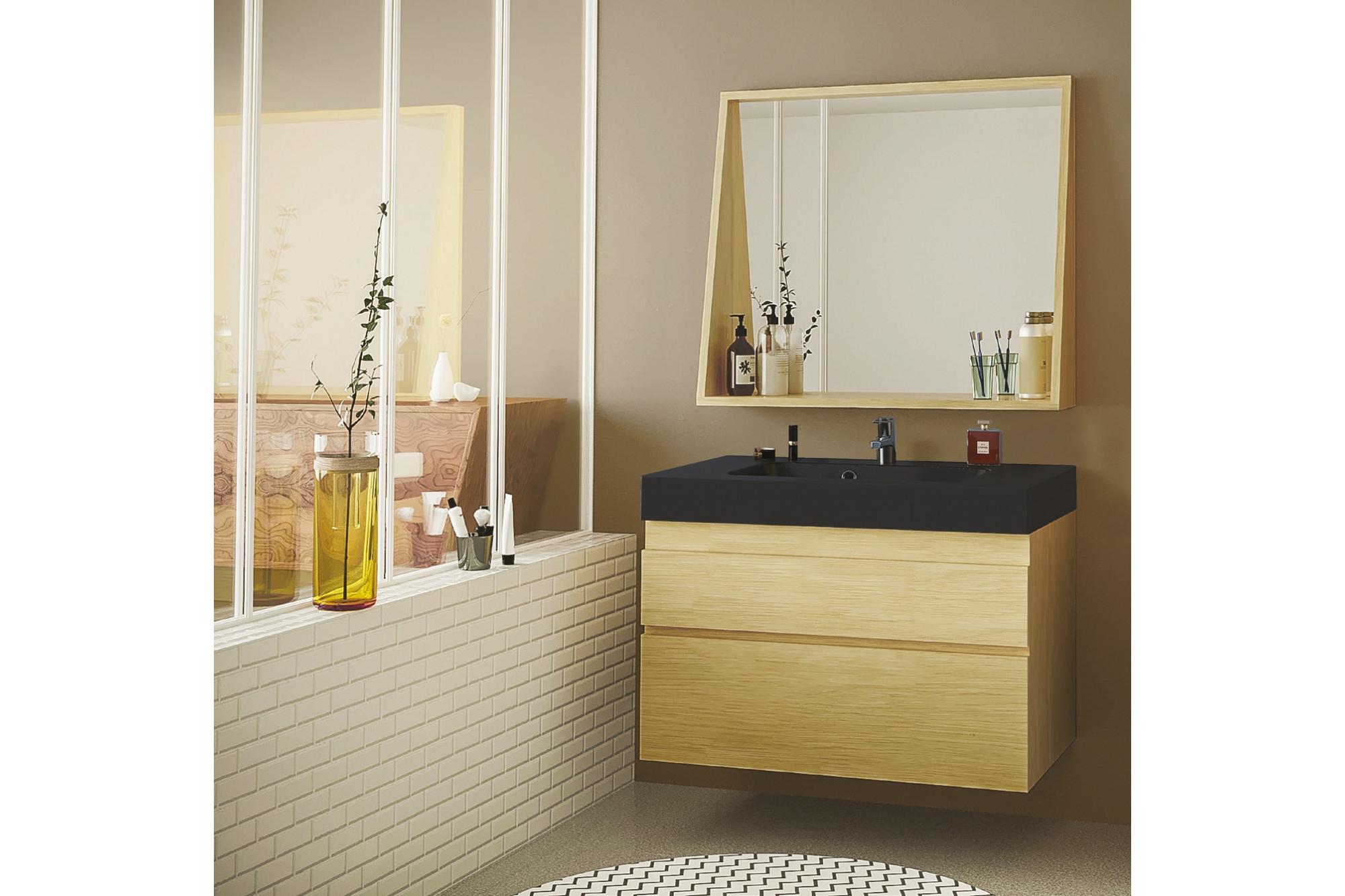 Meuble De Salle De Bain En Bois Avec Sa Vasque Noir Mat Et Son Miroir -  Hellin destiné Meuble Salle De Bain Noir Mat