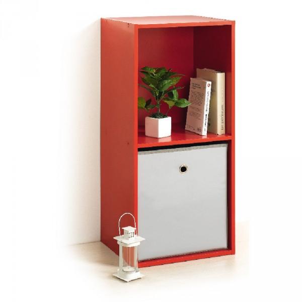 Meuble Déco Rangement 2 Cases Rouge - Bibliothèque Et concernant Petit Meuble Gifi