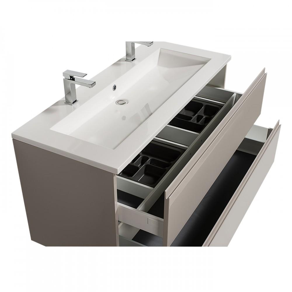 Meuble Double Vasque - Reposant - Adele - 120 Cm - 2 Finitions Bathdesign  Sur Bricozor concernant Vasque 100 Cm 2 Robinets
