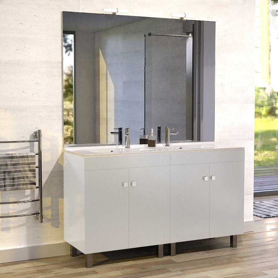 Meuble Ecoline 140 Cm Avec Plan Vasque Et Miroir - Blanc pour Meuble Vasque Design Italien