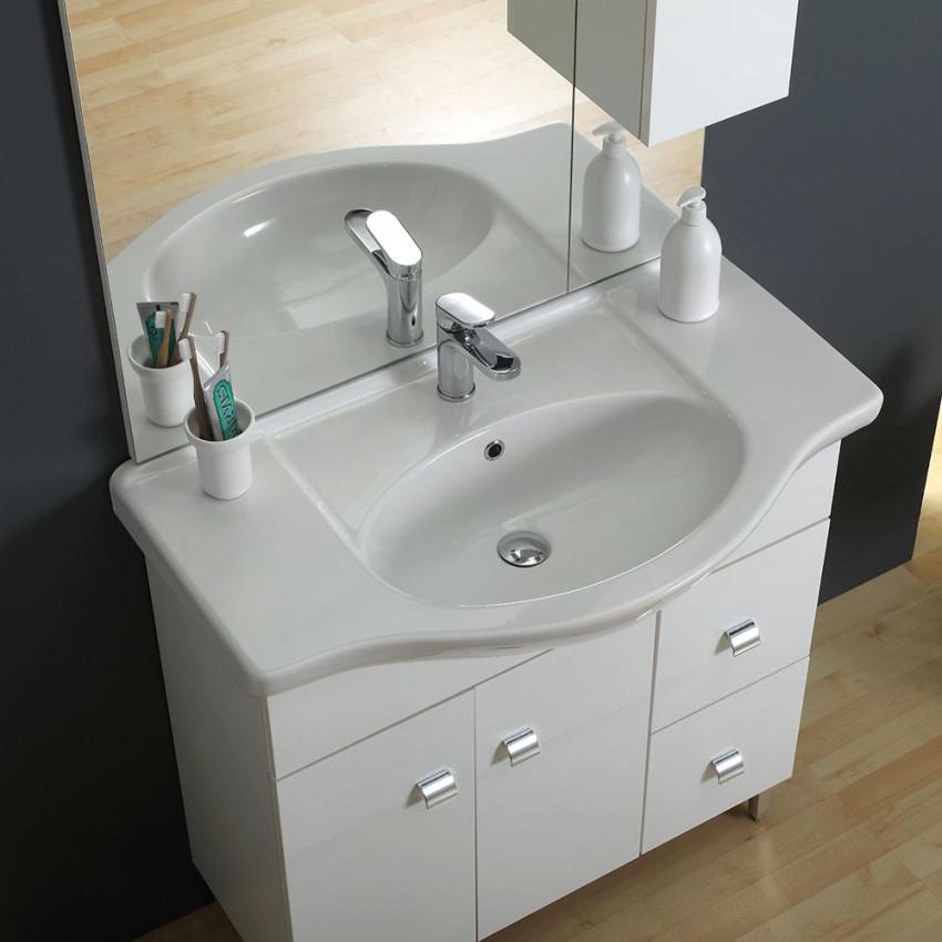 Meuble-Lavabo Avec Pieds Classique 86 Cm Couleur Blanc avec Meuble Lavabo