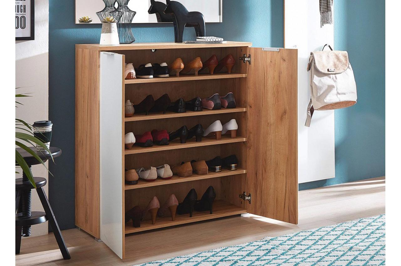 Meuble Rangement Chaussures Bois Et Verre Blanc 20 Paires avec Meuble À Chaussures But