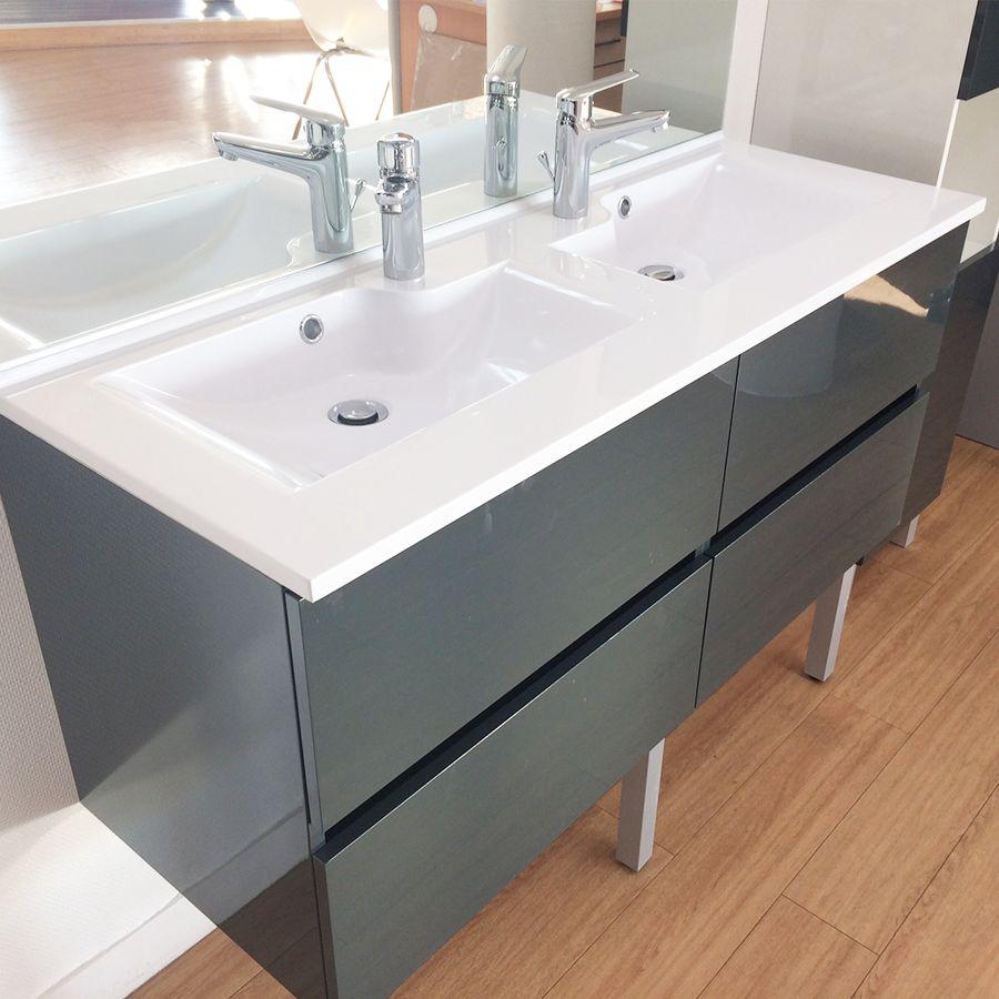 Meuble Rosaly 140 Cm Avec Plan Vasque Et Miroir - Gris pour Plan Vasque 140
