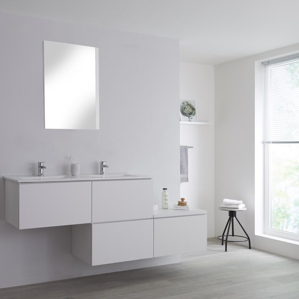 Meuble Salle De Bain Avec Double Vasques Encastrées - Blanc Newington -  180Cm intérieur Meuble Salle De Bain Noir Mat