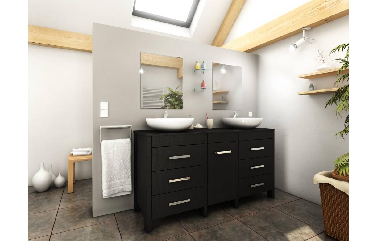Meuble Salle De Bain Bois Noir + 2 Vasques + 2 Miroirs Roma destiné Meuble Salle De Bain Placo