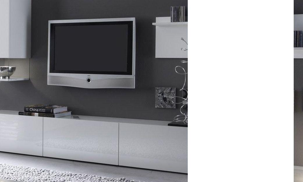 Meuble Télé Banc Tv Design Laqué Blanc Madere encequiconcerne Meuble Télé Blanc Laqué