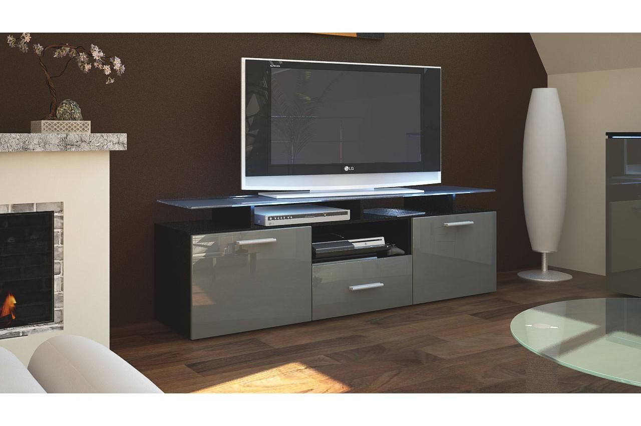 Meuble Télé Bas Noir Moderne Pour Salon tout Meuble Tele Moderne
