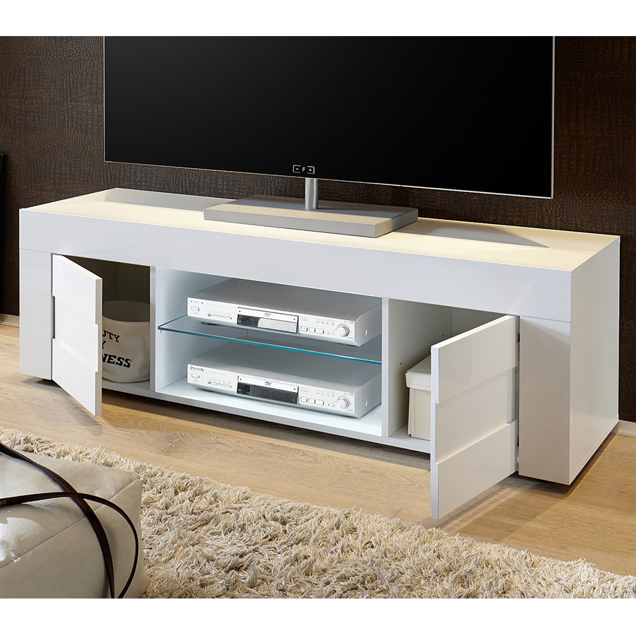 Meuble Télé Blanc Laqué Brillant Et Effet Béton | Sofamobili destiné Meuble Tv Blanc Laqué But
