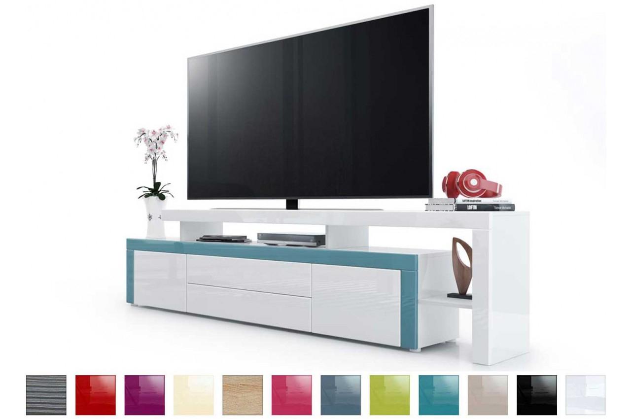 Meuble Télé Laqué Blanc - Trendymobilier concernant Meuble Télé Blanc