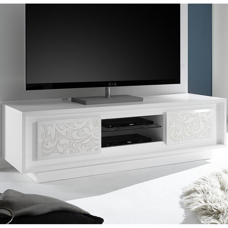 Meuble Télévision Blanc Laqué Mat Avec Motifs | Kasalinea pour Meuble Télé Blanc Laqué