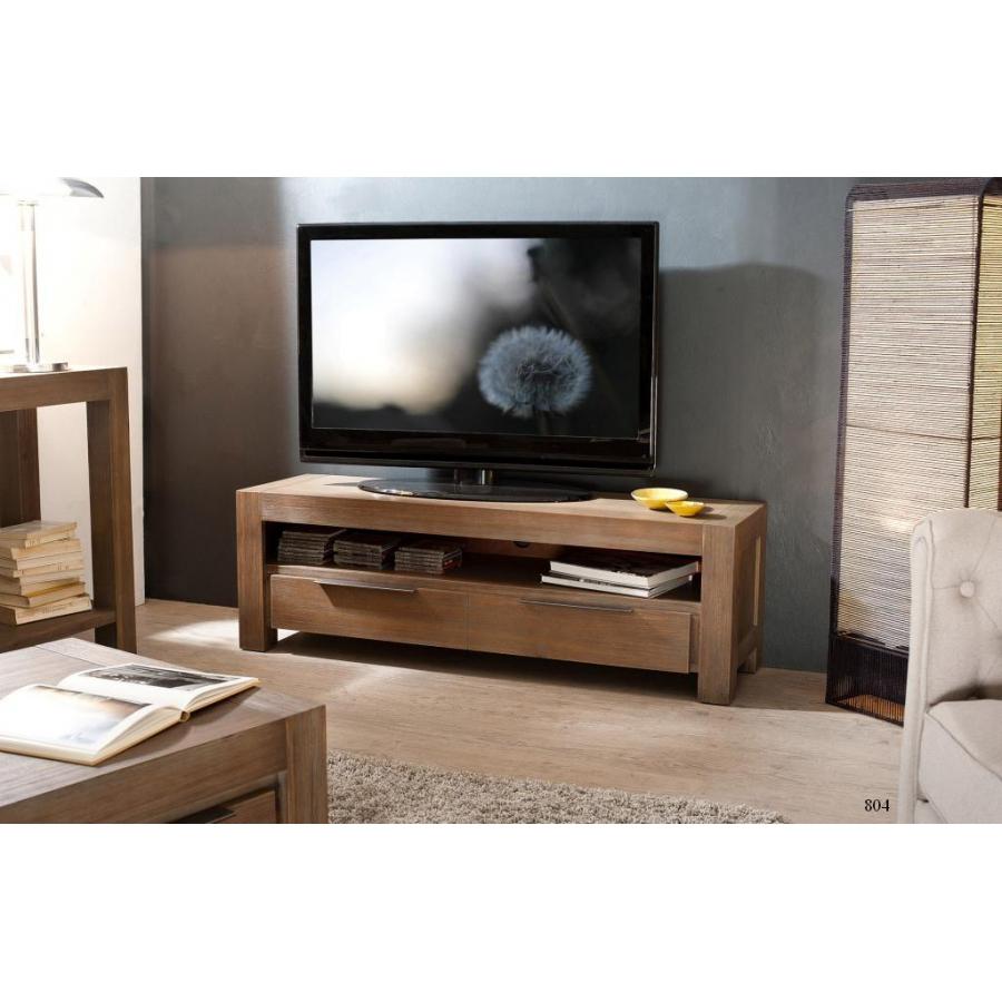 Meuble Tv 1 Tiroir Acacia - Meubles Macabane - Meubles Et dedans Meuble Tv But