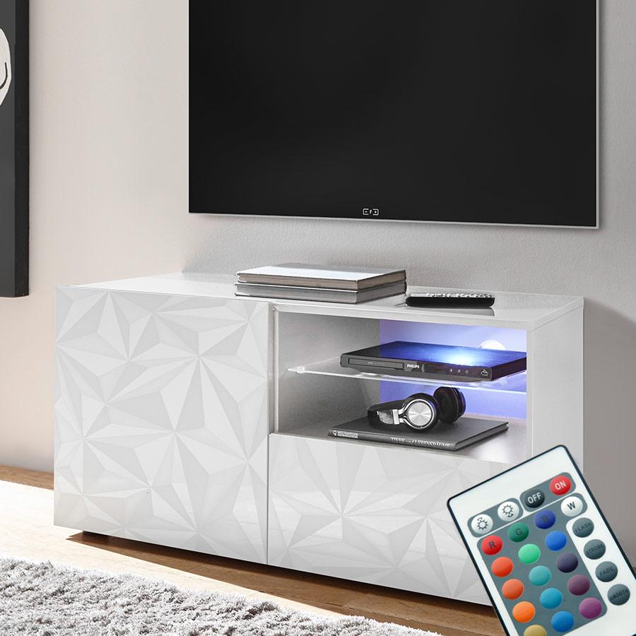 Meuble Tv 120 Cm, Meuble Tv Lumineux, Banc Télévision destiné Meuble Tv Blanc Laqué Pas Cher