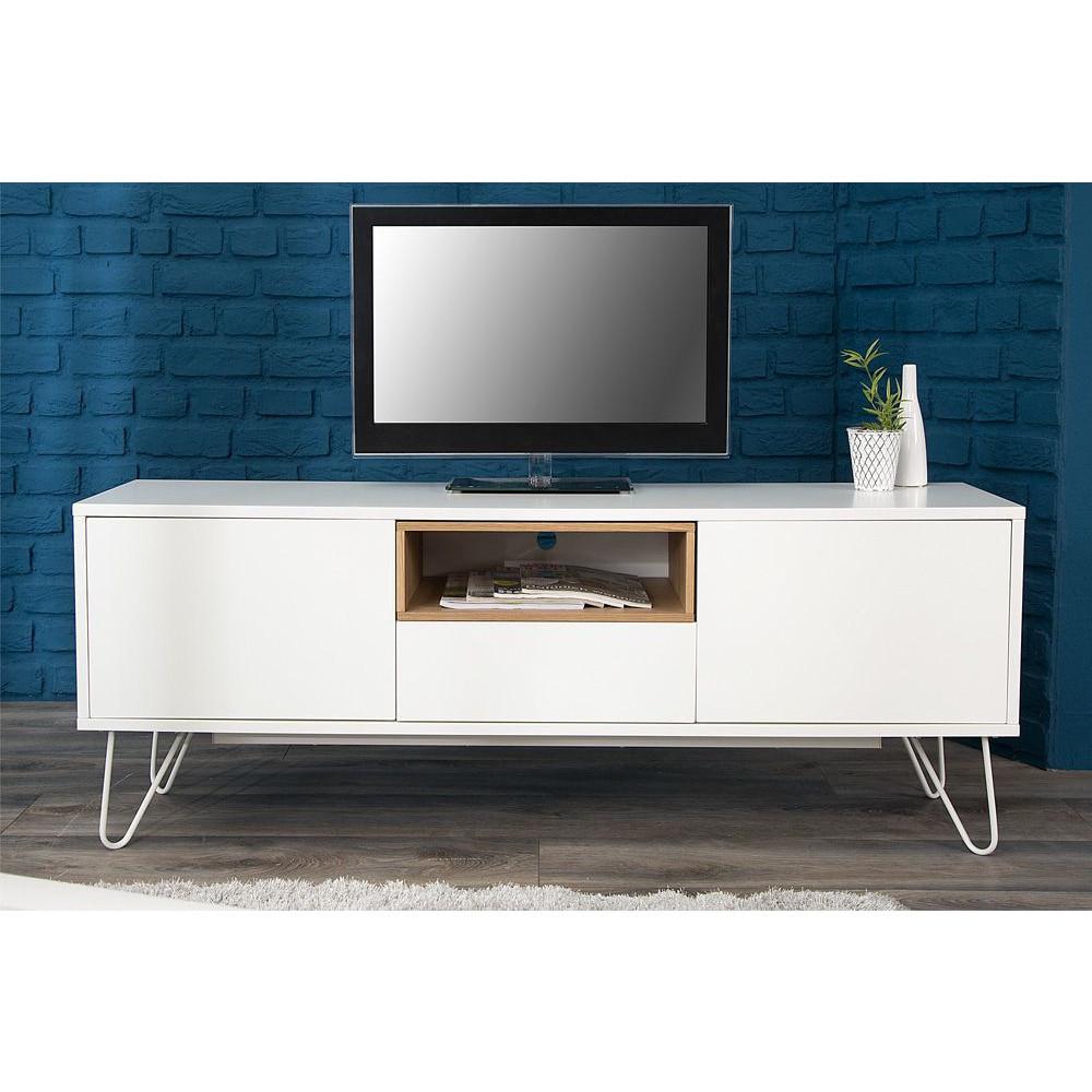 Meuble Tv 150 Cm En Chêne Massif Et Mdf Avec Pieds En destiné Meubles Tv But