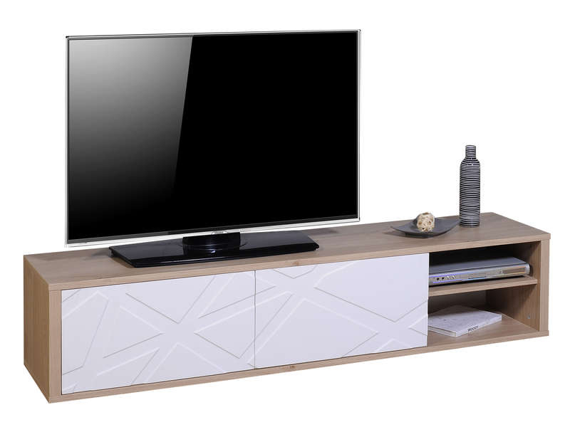 Meuble Tv 180 Cm Graphik Coloris Chene Blanc Vente De Tout Meuble Tele Conforama Agencecormierdelauniere Com Agencecormierdelauniere Com