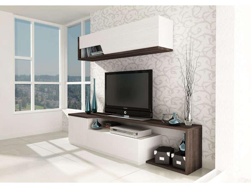 Meuble Tv Bas 1 Porte Et 1 Tiroir + Meuble Haut 200 Cm serapportantà Meuble Tv Haut