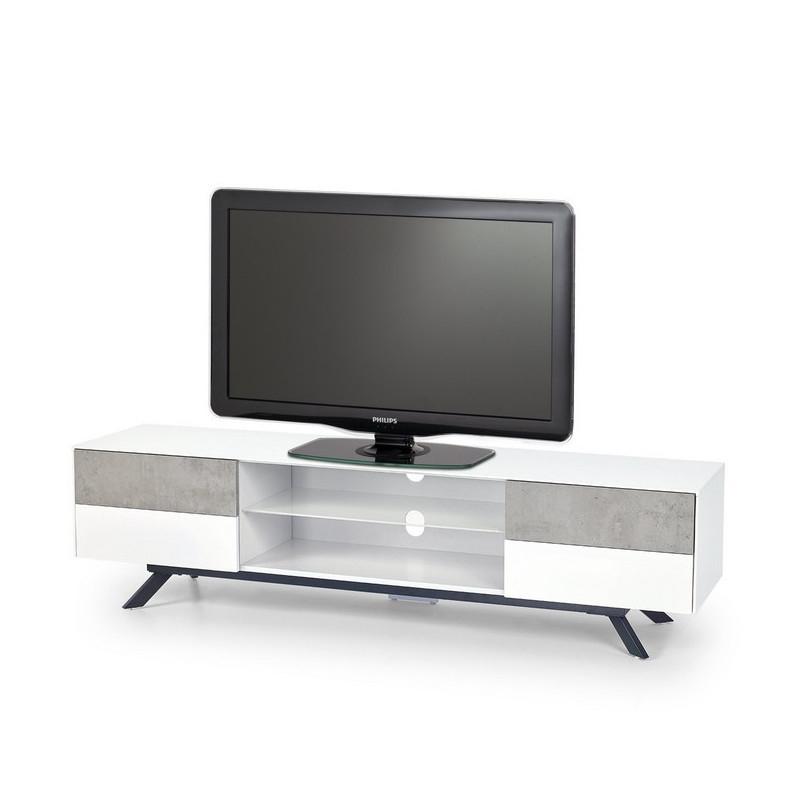 Meuble Tv Béton Et Blanc Laque 4 Tiroirs 180Cm Astani concernant Meuble Télé Blanc Laqué
