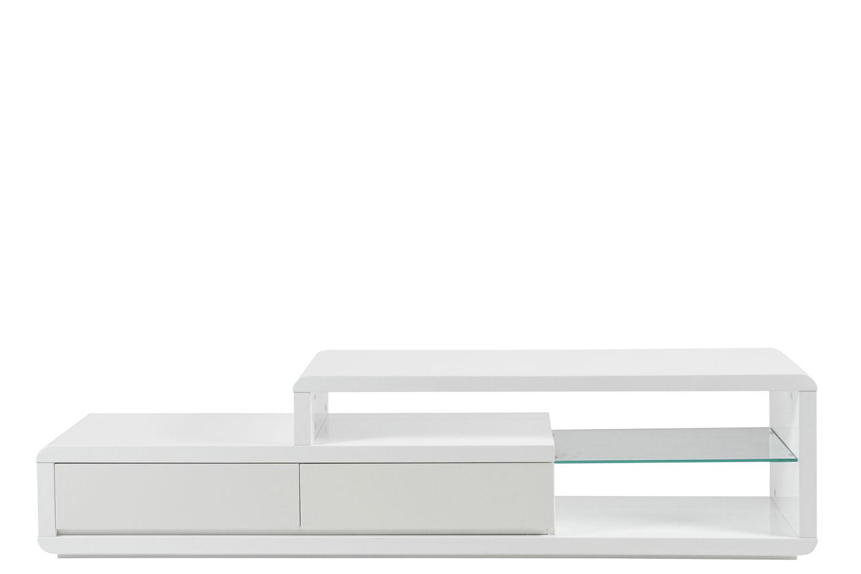 Meuble Tv Blanc Laqué 180Cm Lady - Mykaz intérieur Meuble Télé Blanc Laqué