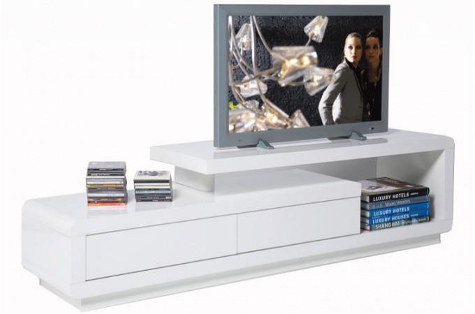 Meuble Tv Blanc Laqué Avec Tiroirs People - Meubles Tv Pas à Meuble Télé Blanc Laqué