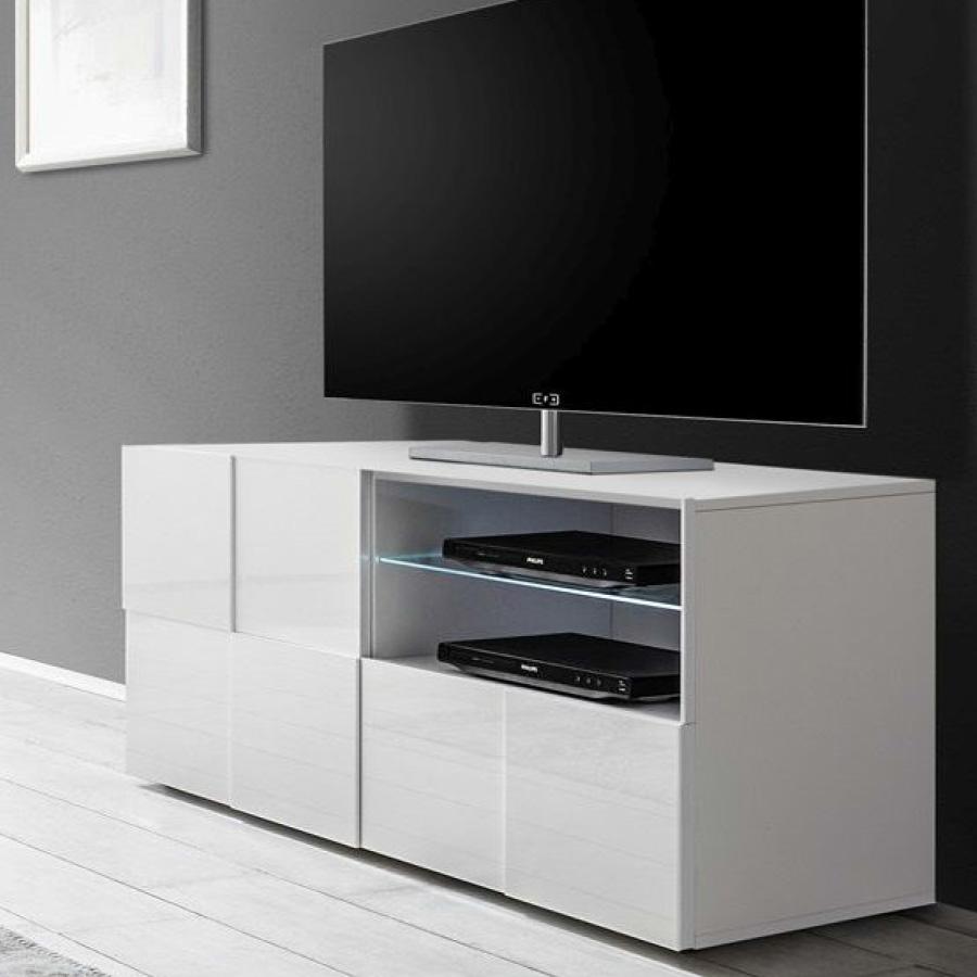 Meuble Tv Blanc Laqué Brillant | Sofamobili intérieur Meuble Télé Blanc Laqué