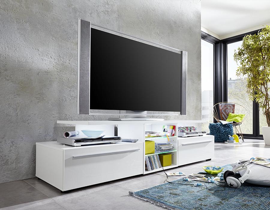 Meuble Tv Blanc Laqué Design Avec Éclairage Led destiné Meuble Télé Blanc Laqué