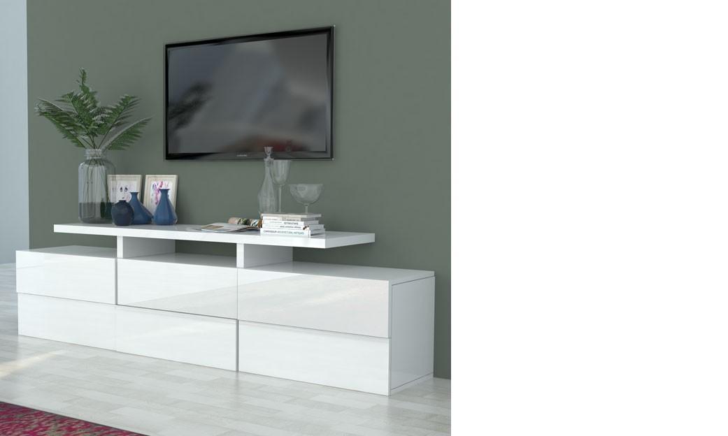 Meuble Tv Blanc Laqué Design Betty intérieur Meuble Télé Blanc